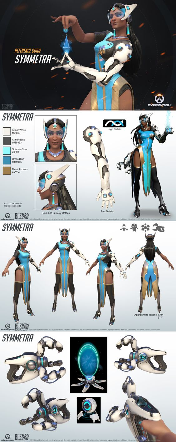 Top 40 Character Design Tips : Overwatch symmetra reference guide character designs