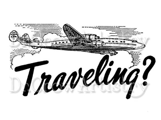 vintage travel clipart black and white - photo #12