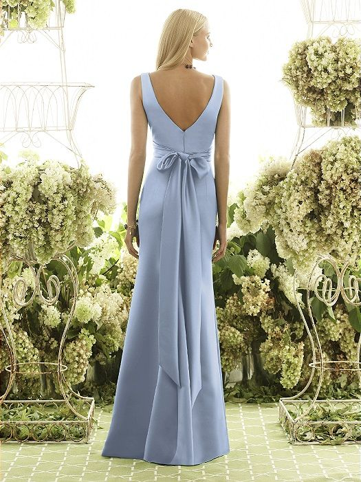 Back of cornflower matte satin Dessy bridesmaid dress in cloudy ...