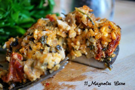 Portabella Mushroom stuffed with sun-dried tomatoes, spinach and feta ...