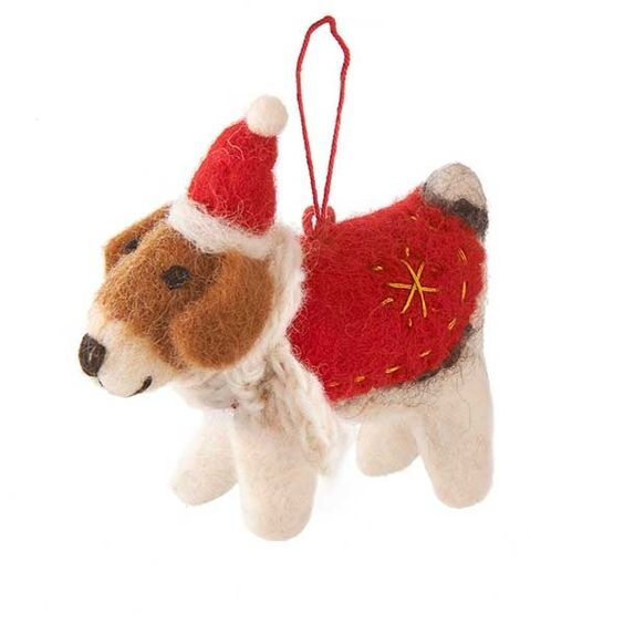 Fox Terrier with Coat Decoration
