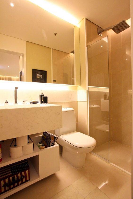 banheiro com ilumina o indireta espelho com ilumina o m rmore e tudo muito compacto projeto. Black Bedroom Furniture Sets. Home Design Ideas