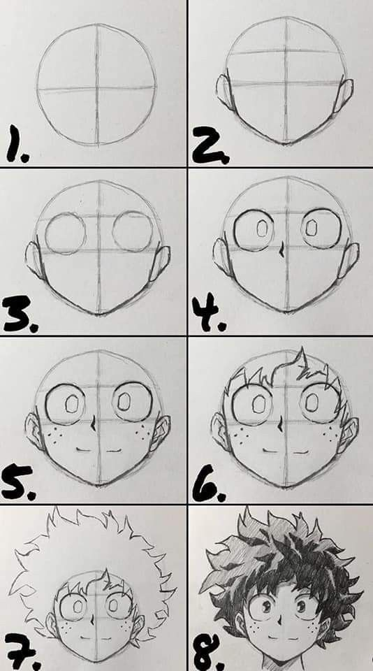 How To Draw Deku Step By Step : Drawing, Anime, Character, Drawing,, Drawings, Tutorials,, Cartoon, Styles