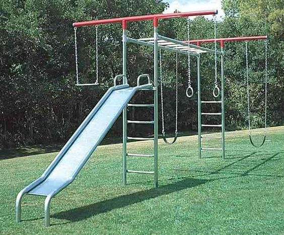 Metal swing sets swing sets and swings on pinterest for Diy adult swing set