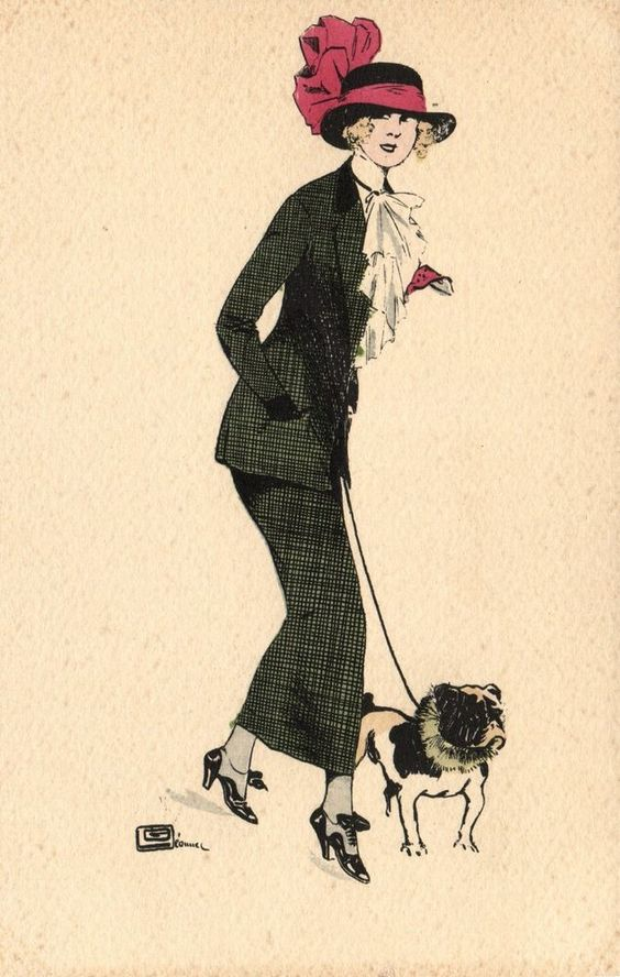 Bulldog dog  with French  lady Paris artist signed postcard
