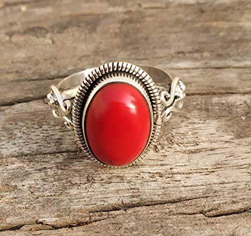 Dainty Red Stone Ring 925 Sterling Silver Gemstone Ring Coral Stone Ring Coral Jewelry Bohemian Gypsy Ring Silver Ring Coral Ring