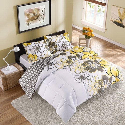 2pc girl yellow black gray flower college dorm twin twin. Black Bedroom Furniture Sets. Home Design Ideas
