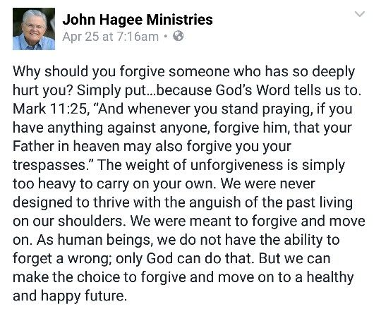 Forgiveness of one who has deeply hurt you