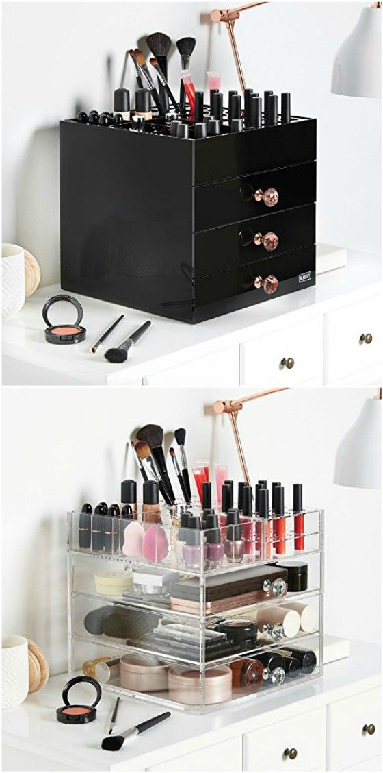 Black White Large 4 Tier Black Acrylic Cosmetic Makeup Storage Cube Organizer With 3 Drawers And 6 Upp Makeup Case Rolling Makeup Case Professional Makeup Case