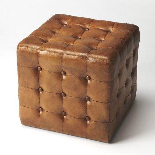 Elgin 16 Genuine Leather Tufted Square Cube Ottoman Brown Leather Ottoman Leather Ottoman Tufted Ottoman
