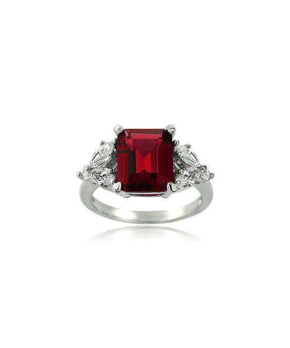 Ruby & Cubic Zirconia Emerald-Cut Ring
