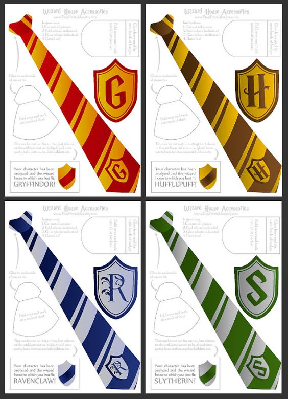 Wizard ties badges foldable templates harry potter for Harry potter tie template