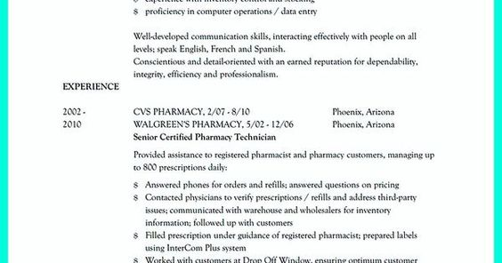 What Objectives to Mention in Certified Pharmacy Technician Resume - pharmacy technician resume template