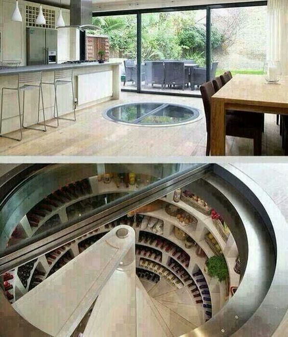 Perfect place for a wine cellar./fridge It's not in the way and looks amazing for guests
