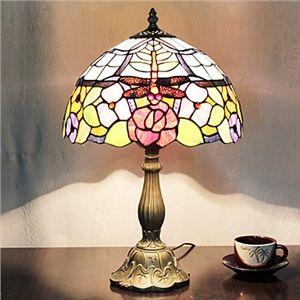 2 flammige Tiffany-Tischleuchte, Blumen und Libelle gemustert