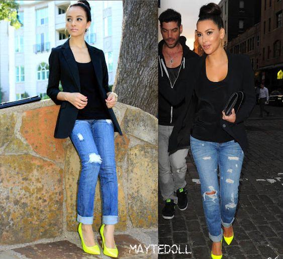 kim kardashian inspired outfit: neon yellow pumps