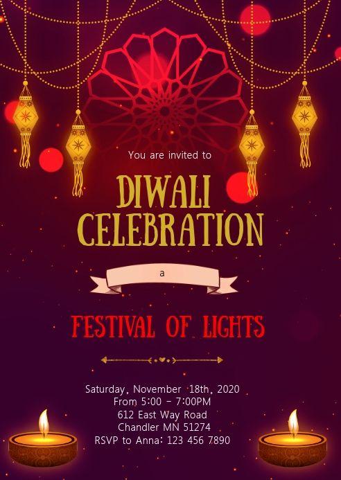 Diwali Party Invitation Party Invite Template Diwali Celebration Diwali Cards