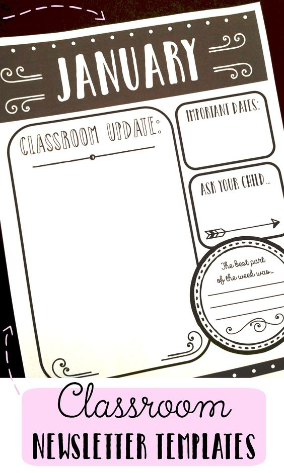 Teacher time saver: Chalkboard-themed classroom newsletter templates. Quick and easy to customize!