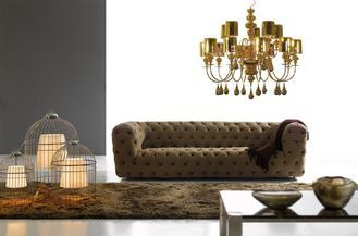China Brown Ginotti Modern Upholstery Fabric Sofa