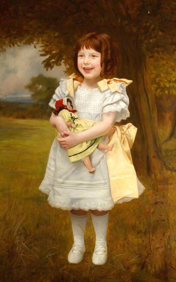 Charles Spencelayh (1865-1958) —  Portrait of a Small Girl Standing with a Doll,c.1910 :    Hampshire County Council Museums Service.  UK (590x944):