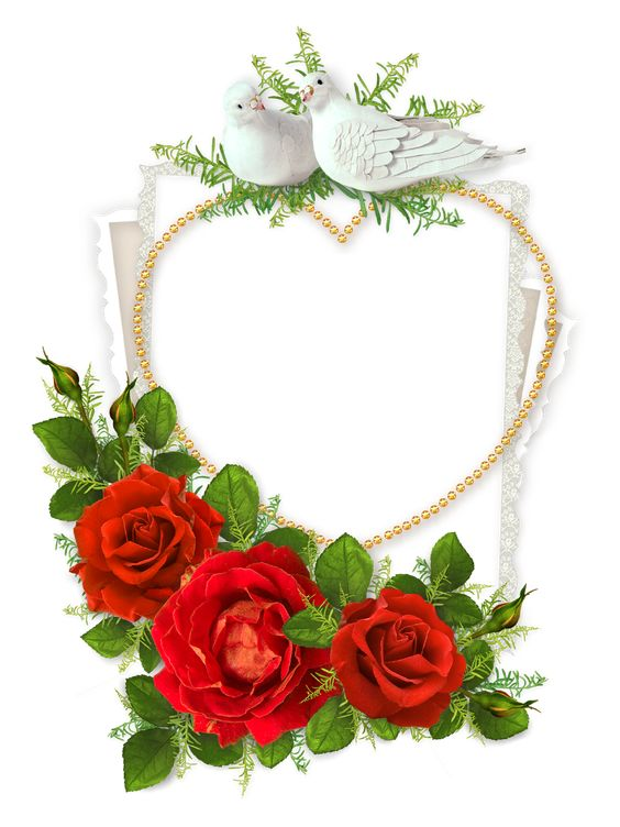 Heart-Shaped-Photo-Frame-with-Doves-and-Red-Roses