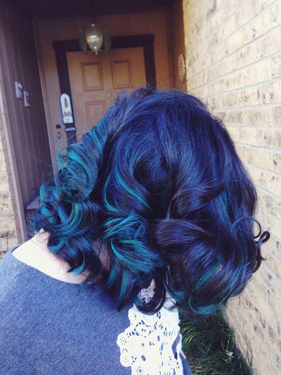 Blue highlights in dark brown curly hair trendy hairstyles in blue highlights in dark brown curly hair pmusecretfo Gallery