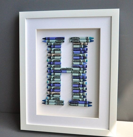 crayola letter art in blues or pinks by the letteroom   notonthehighstreet.com