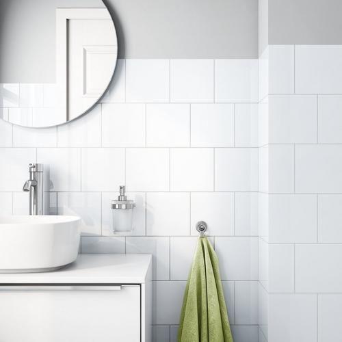Bright White Ice Ceramic Wall Tile Tile Tub Surround White Bathroom Tiles White Tile Shower