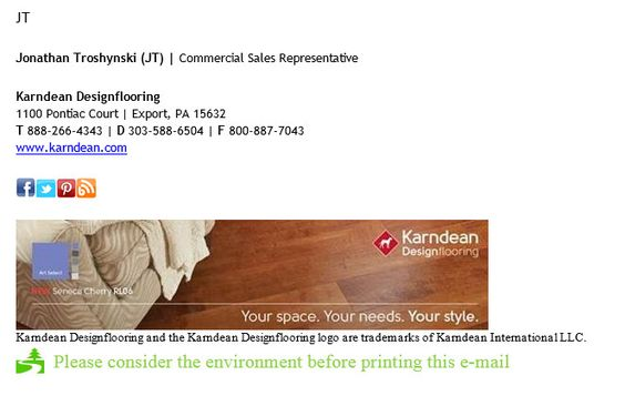 Email signature example: Social icons included | Graphic image included | Environment disclaimer
