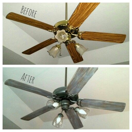 So impressed with my 25 ceiling fan makeover new seeded glass so impressed with my 25 ceiling fan makeover new seeded glass globesbulbs spray painted brass chalk painted blades the haven pinterest ceiling aloadofball Images