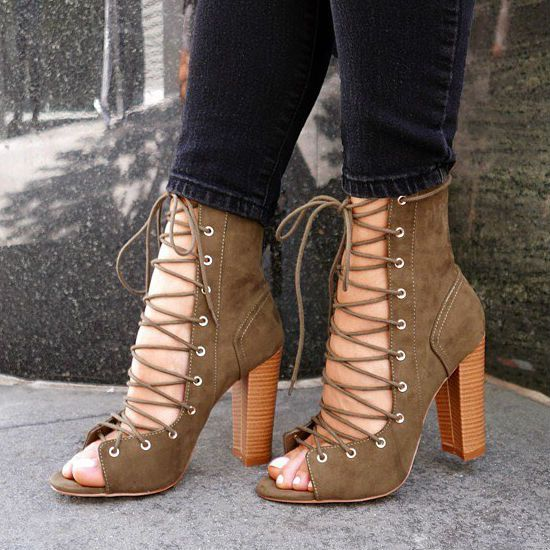 Leg Wrap Lace up Chunky Heels | **DISCOUNT SHOES | Pinterest ...