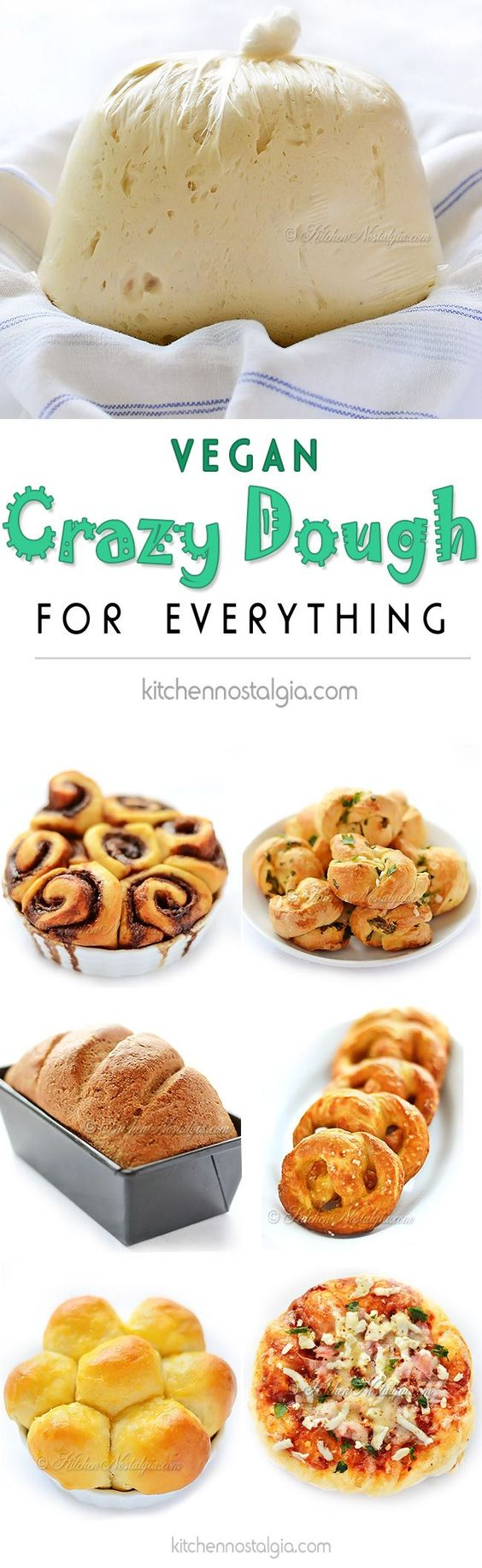 Vegan Crazy Dough for Everything - make one miracle dough, keep it in the fridge and use it for anything you like: pizza, cinnamon rolls, dinner rolls, pretzels, garlic knots, focaccia, bread...