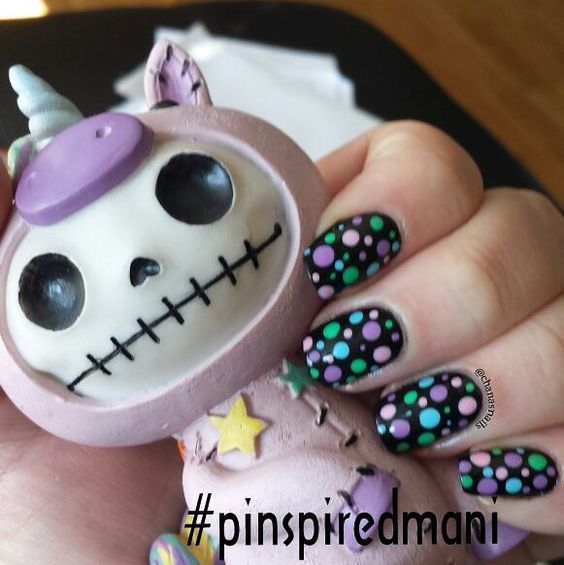 A #pinspiredmani inspired by the likes of @pinkandpolishednails. I lived these nails because they are like a dark take on spring colours! Thanks for the #pinspiration! by chanasnails