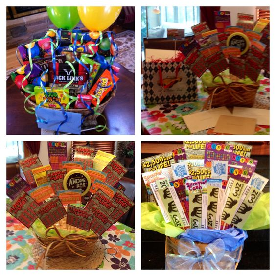 Gift baskets scratch off lottery tickets golf gift cards tickets