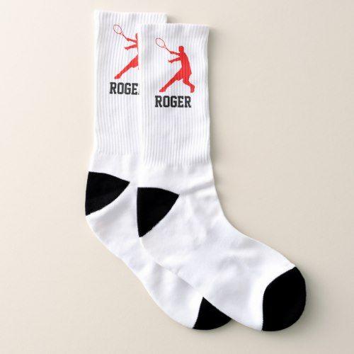 Custom Tennis Socks Gift For Player And Coach Zazzle Com In 2020 Custom Sports Socks Sock Gifts Tennis Socks