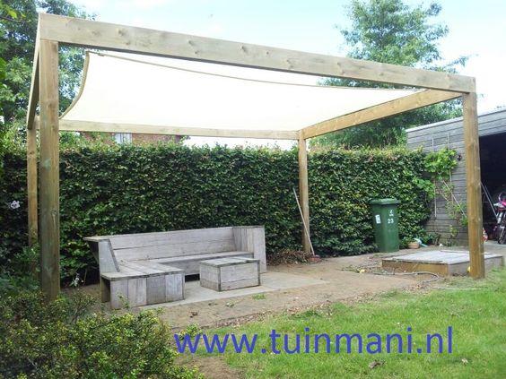 Zonnedoek doek prieel geeft een fijne plek om in schaduw te zitten geeft een sfeervolle - Doek voor tuinborstel ...