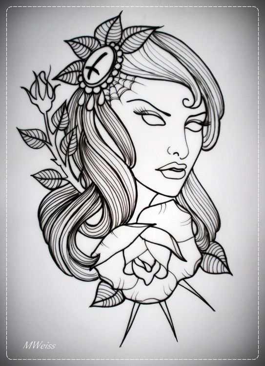 Tattoo Drawing Outline : Girl with rose tattoo flash outline by oldskulllovebymw