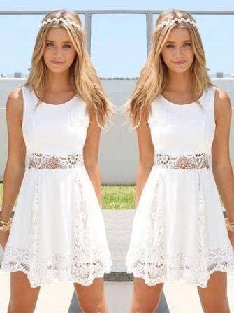 FREE SHIPPING! Women White Lace Crochet Hollow Out Sleeveless Chiffon Mini Dress SKU257866