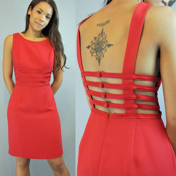 80s Red party DRESS backless CAGE dress by rockstreetvintage, $68.00