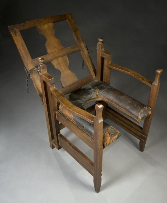 """Antique Birthing Chair  The exact date of this particular """"parturition chair"""" isn't noted by London's Science Museum, but they say these types of seats were used from antiquity until the 1800s…:"""