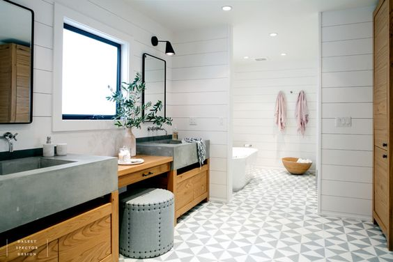 MarinaDelRey #masterbath #cementtiles #oakcabinetry #cementsinks