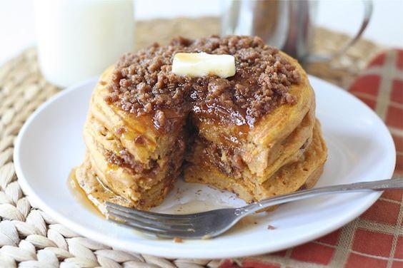Pumpkin Cinnamon Streusel Pancake Recipe via twopeasandtheirpod.com  #recipe: Pumpkin Streusel, Pumpkin Cinnamon, Pumpkin Pancakes, Cinnamon Streusel, Breakfast Food, Cinnamon Pancakes