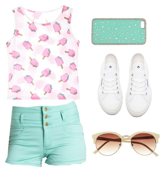 """Summer Pop"" by ashleyhyun ❤ liked on Polyvore featuring Chicnova Fashion, Charlotte Russe, Vince Camuto, Superga, Forever New, women's clothing, women, female, woman and misses"