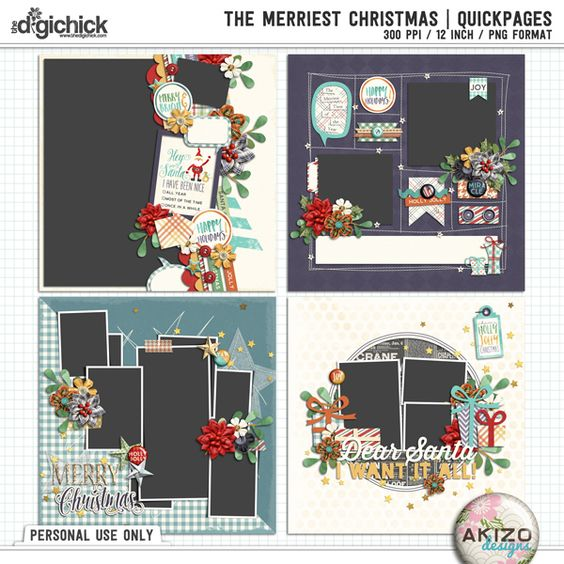 The Merriest Christmas | Quickpages by Akizo Designs - For Digital Scrapbooking Layout