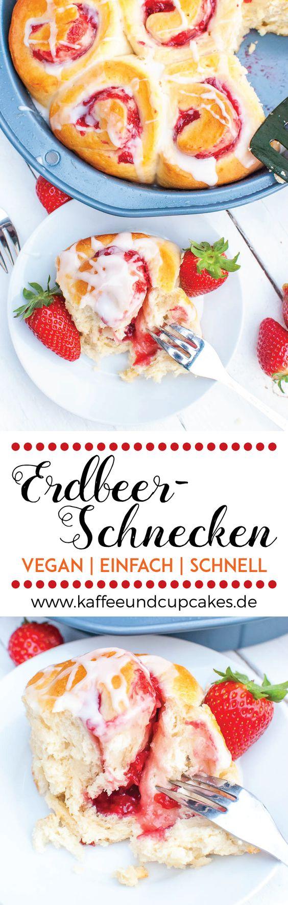 Schnelle vegane Erdbeer-Schnecken mit Guss | Kaffee & Cupcakes