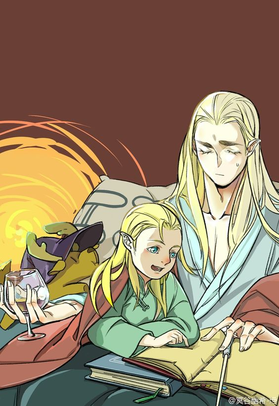 Thranduil and little legolas     Thranduil:please Legolas, sleep son sleep... do it for me  Legolas:but Ada! I want a story! Thranduil:Okay, but this is the last... understand?           Legolas: yes ada, this is the last I swear!