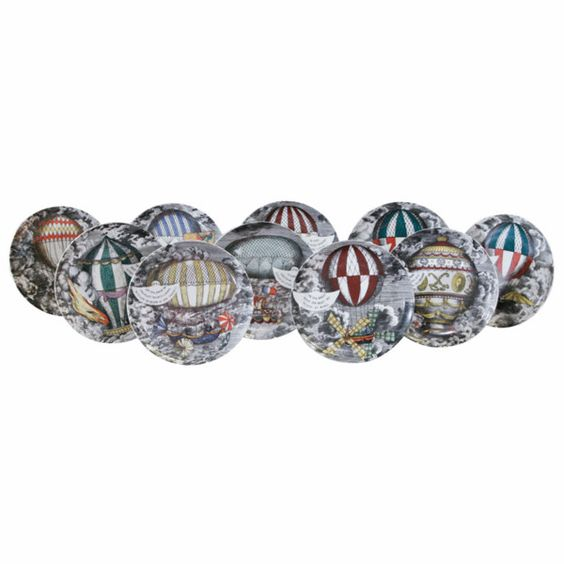 OnlineGalleries.com - A set of 10 Palloni porcelain plates by Piero Fornasetti