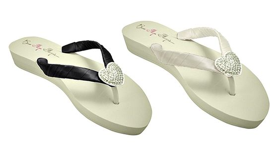 Wedding Wedges Heel with Heart Bling for the Bride and Bridesmaid Flip Flops -- Be sure to check out this awesome product.