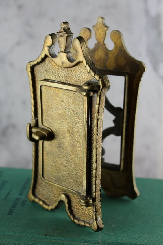 Antique brass speakeasy door knocker peephole shops antiques and doors - Door knocker with peep hole ...
