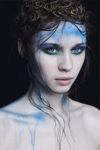 Love this! Messy hair & blue dripping down the face for Aquarius